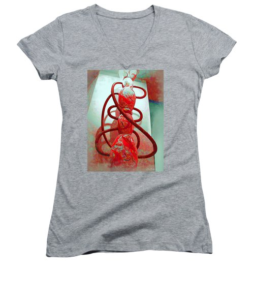 Pipe Dreams Women's V-Neck T-Shirt (Junior Cut) by Joan  Minchak