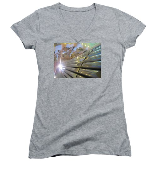 Women's V-Neck T-Shirt (Junior Cut) featuring the photograph Pipe Organ Of La Sagrada by Christin Brodie