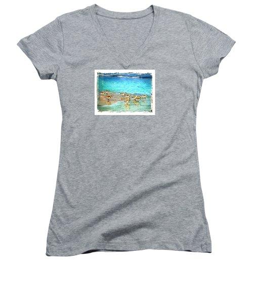 Women's V-Neck T-Shirt (Junior Cut) featuring the digital art Pipers Run by Linda Olsen