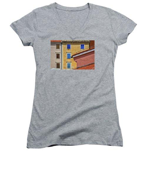 Women's V-Neck T-Shirt featuring the photograph Piran Colors - Slovenia by Stuart Litoff