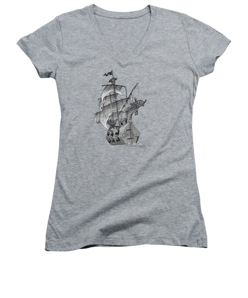 Pirate Ship Women's V-Neck T-Shirt (Junior Cut) by Andy Catling