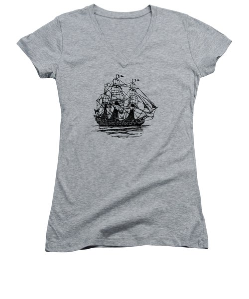Women's V-Neck featuring the digital art Pirate Ship Artwork - Vintage by Nikki Marie Smith