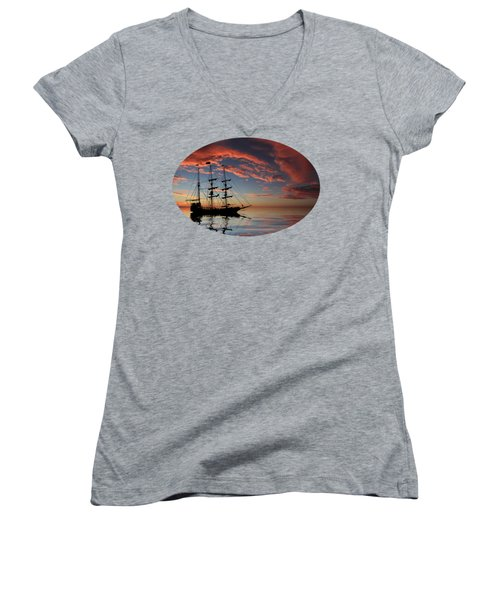Pirate Ship At Sunset Women's V-Neck
