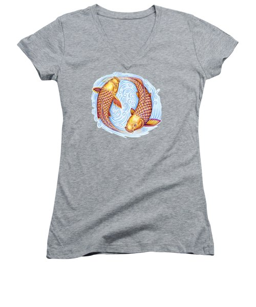 Pisces Women's V-Neck T-Shirt (Junior Cut) by Rebecca Wang