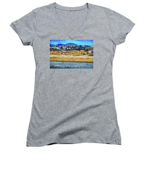 Women's V-Neck T-Shirt (Junior Cut) featuring the photograph Pismo Hilltop Ocean View by Joseph Hollingsworth