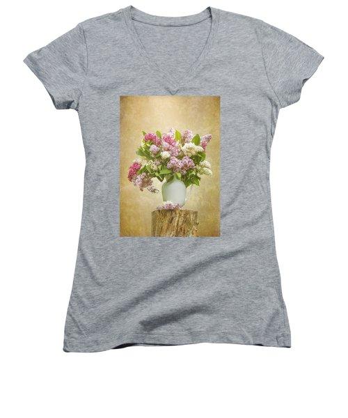 Pitcher Of Lilacs Women's V-Neck T-Shirt (Junior Cut) by Patti Deters