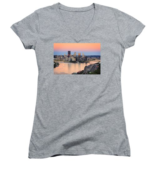 Pittsburgh 16 Women's V-Neck T-Shirt (Junior Cut) by Emmanuel Panagiotakis