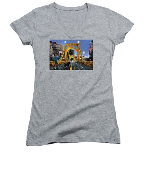 Pittsburgh Chic Women's V-Neck T-Shirt (Junior Cut)