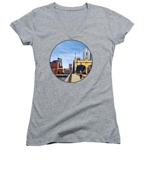 Pittsburgh Pa - Crossing The Smithfield Street Bridge Women's V-Neck T-Shirt (Junior Cut) by Susan Savad