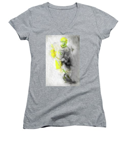 Women's V-Neck T-Shirt (Junior Cut) featuring the photograph Pittsburgh Penguins Nhl Sidney Crosby Painting Fantasy by David Haskett