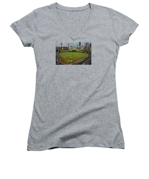 Pittsburgh Pirates Pnc Park 5569 Women's V-Neck T-Shirt (Junior Cut) by David Haskett