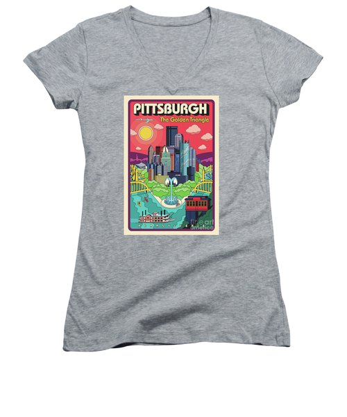 Pittsburgh Pop Art Travel Poster Women's V-Neck (Athletic Fit)
