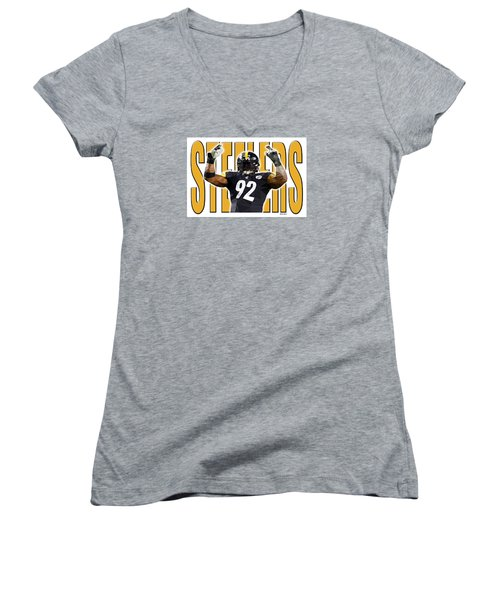 Pittsburgh Steelers Women's V-Neck T-Shirt (Junior Cut) by Stephen Younts