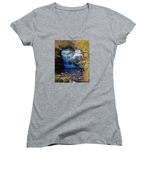 Women's V-Neck T-Shirt (Junior Cut) featuring the photograph Pixley Falls State Park by Diane E Berry