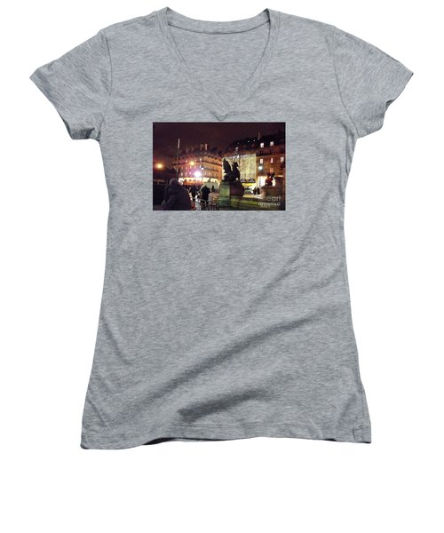 Women's V-Neck T-Shirt (Junior Cut) featuring the photograph Place Saint-michel by Felipe Adan Lerma