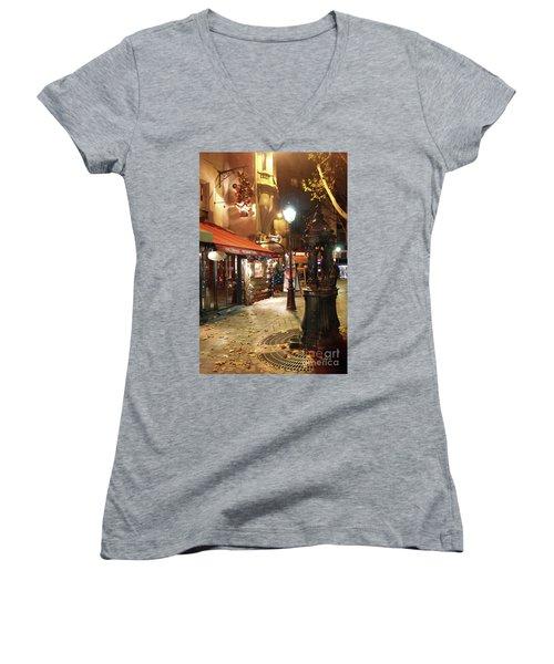 Place St Michel To Rue Saint-andre Des Arts Women's V-Neck T-Shirt (Junior Cut) by Felipe Adan Lerma