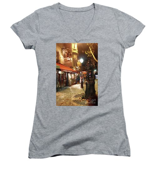 Place St Michel To Rue Saint-andre Des Arts Women's V-Neck (Athletic Fit)