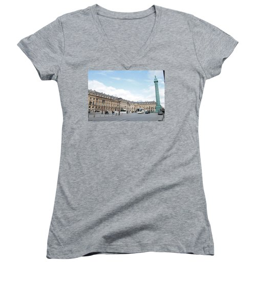 Women's V-Neck T-Shirt (Junior Cut) featuring the photograph Place Vendome by Christopher Kirby