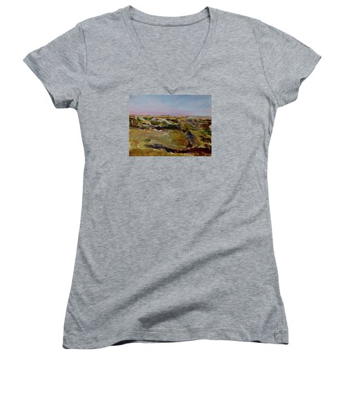 Coulee Evening Women's V-Neck T-Shirt (Junior Cut) by Helen Campbell