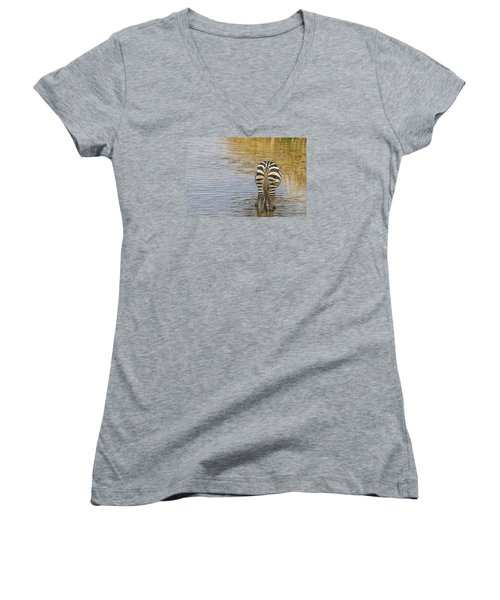 Women's V-Neck T-Shirt (Junior Cut) featuring the tapestry - textile Plains Zebra by Kathy Adams Clark