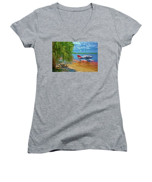 Women's V-Neck T-Shirt featuring the photograph Plane On The Lake by Lewis Mann