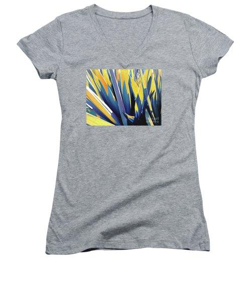 Plant Burst - Yellow Women's V-Neck T-Shirt