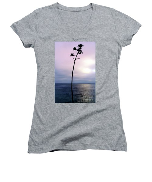 Women's V-Neck T-Shirt (Junior Cut) featuring the photograph Plant Silhouette Over Ocean by Mariola Bitner
