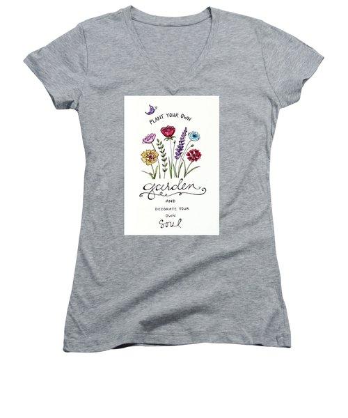 Plant Your Own Garden Women's V-Neck T-Shirt (Junior Cut) by Elizabeth Robinette Tyndall