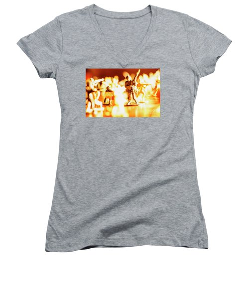 Women's V-Neck T-Shirt (Junior Cut) featuring the photograph Plastic Army Men 1 by Micah May