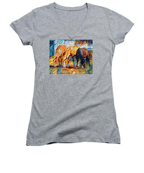 Plastic Horses Women's V-Neck T-Shirt