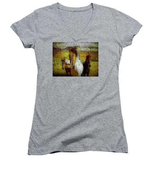 Women's V-Neck T-Shirt featuring the photograph Plateau Ponies by Bellesouth Studio