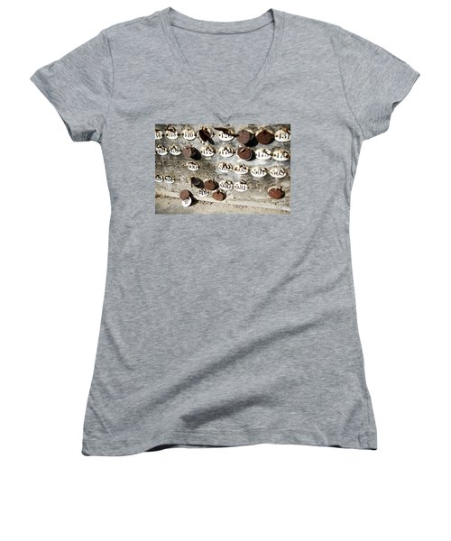 Plates With Numbers Women's V-Neck T-Shirt (Junior Cut) by Carlos Caetano