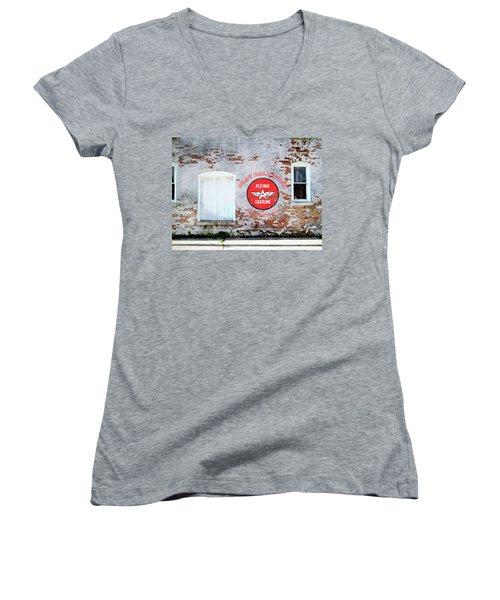 Women's V-Neck T-Shirt (Junior Cut) featuring the digital art Play Ball With Flying A by Sandy MacGowan