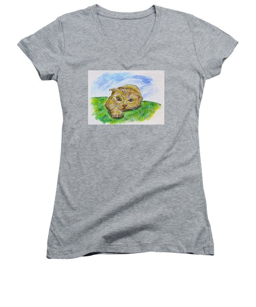 Play With Me Women's V-Neck T-Shirt (Junior Cut) by Clyde J Kell