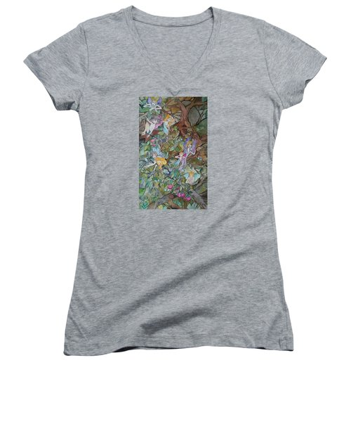 Playful Women's V-Neck T-Shirt (Junior Cut) by Claudia Cole Meek