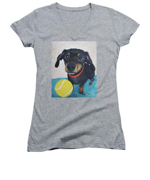 Playful Dachshund Women's V-Neck T-Shirt (Junior Cut) by Megan Cohen