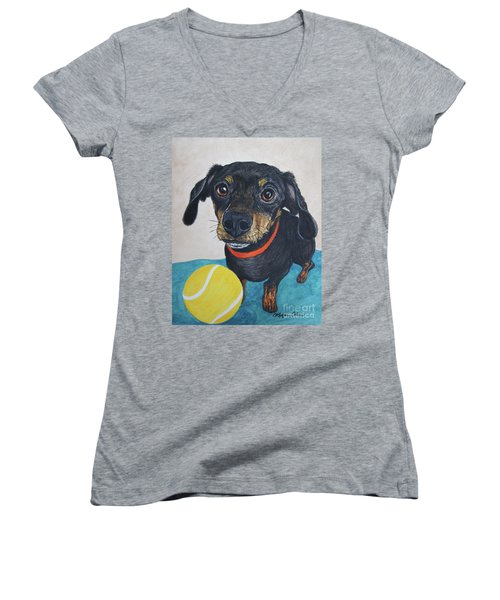 Playful Dachshund Women's V-Neck (Athletic Fit)
