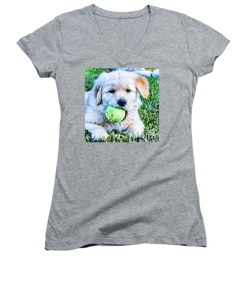 Playful Pup Women's V-Neck