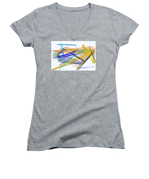 Women's V-Neck T-Shirt featuring the digital art Playground by Rafael Salazar