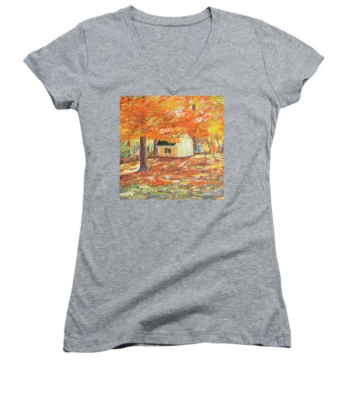 Women's V-Neck T-Shirt (Junior Cut) featuring the painting Playhouse In Autumn by Carol L Miller