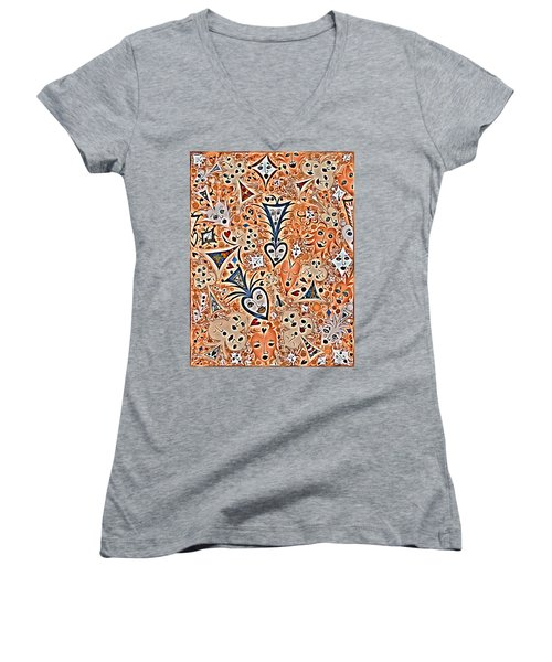 Playing Card Symbols With Faces In Rust Women's V-Neck (Athletic Fit)