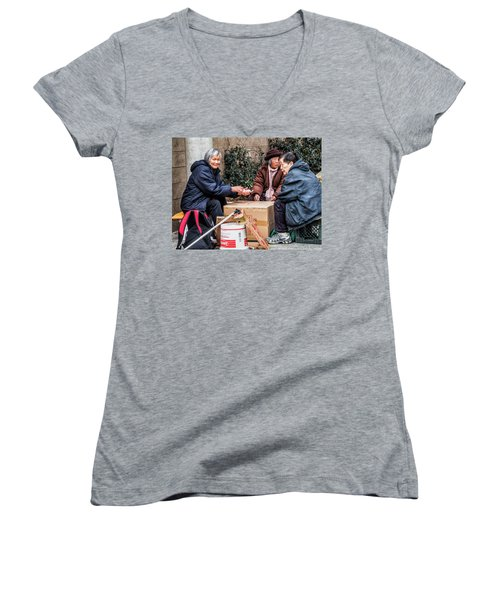 Playing Cards In Chinatown Women's V-Neck (Athletic Fit)