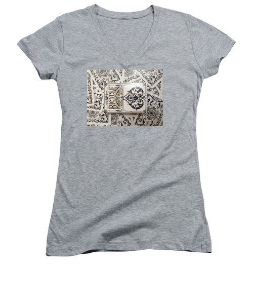 Playing Cards Women's V-Neck T-Shirt (Junior Cut) by Sheila Mcdonald
