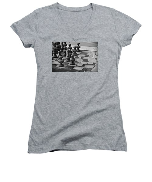 Women's V-Neck T-Shirt (Junior Cut) featuring the photograph Playing Chess by Cendrine Marrouat