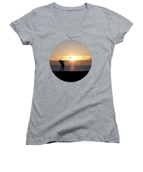 Playing Golf At Sunset Women's V-Neck T-Shirt (Junior Cut) by Phil Perkins