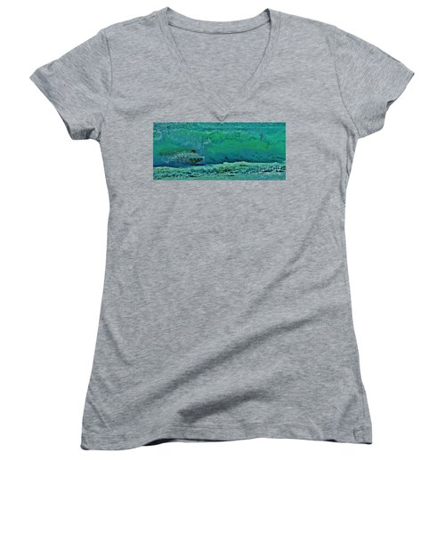 Playing In The Shore Break Women's V-Neck T-Shirt (Junior Cut) by Craig Wood
