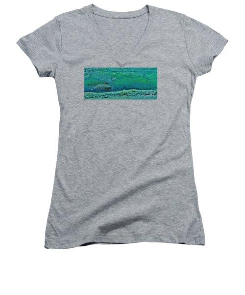 Playing In The Shore Break Women's V-Neck T-Shirt