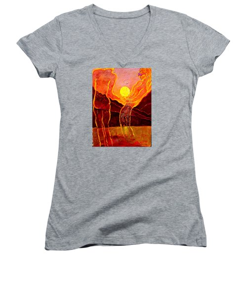 Playing With The Moon Women's V-Neck T-Shirt