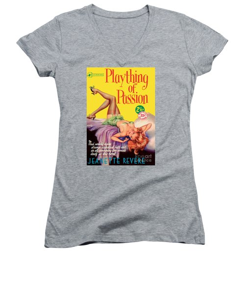 Women's V-Neck T-Shirt (Junior Cut) featuring the painting Plaything Of Passion by Reginald Heade