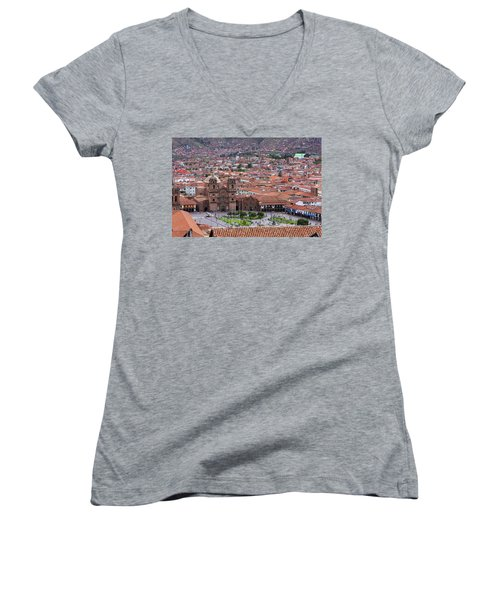 Plaza De Armas, Cusco, Peru Women's V-Neck T-Shirt (Junior Cut) by Aidan Moran